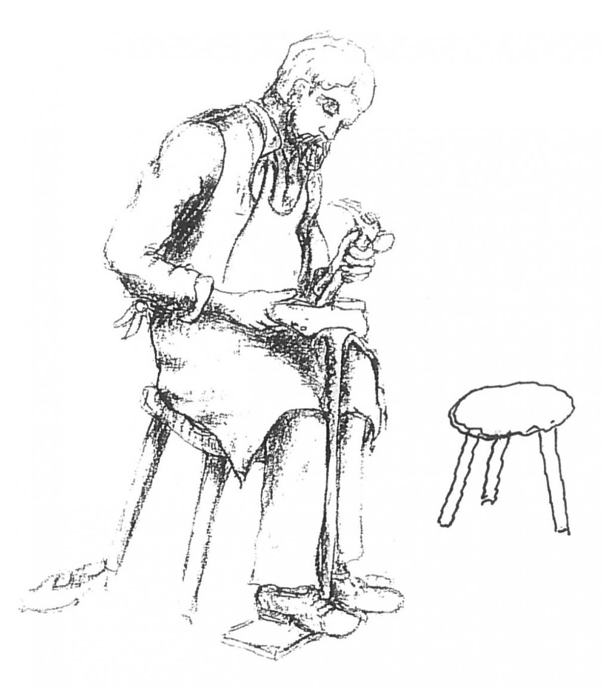 Skizze der Schuhmacher-Skulptur