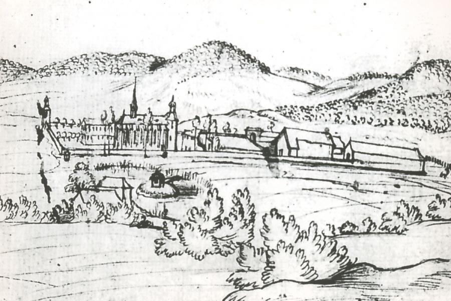Zeichnung des Klosters aus dem Jahre 1720 von Rainer Roidkin (Rheinisches Bildarchiv Köln)